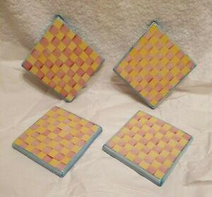 """Mackenzie Childs IMRIE / Wallcourt Ceramic Tile Trivet 4""""Sq. NWT! RARE! SET OF 4"""