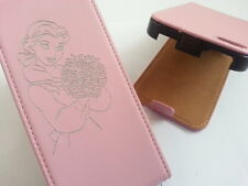 IPhone 4 4S BELLE-BELLEZZA E LA BESTIA IN VERA PELLE ROSA FLIP PHONE CASE