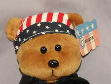 NEW USA RED WHITE BLUE MOTORCYCLE BLACK JACKET MARCH OF DIMES RIDE BEAR PLUSH
