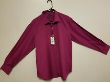 ROBERT GRAHAM AUTHENTIC CLAPHAM BURGUNDY MENS DRESS SHIRT Size L