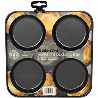 Yorkshire Pudding Tray 4 Cup Carbon Non-Stick Steel Oven Baking Roasting Tin