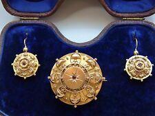 Stunning Antique Victorian 15ct Gold Garnet set Etruscan Brooch & Earrings c1871
