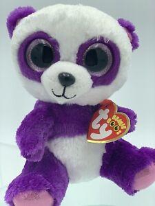 TY, Boom Boom, 15cm, 6', 2016, Plush Beanie Boo, Purple Panda, NEW #10