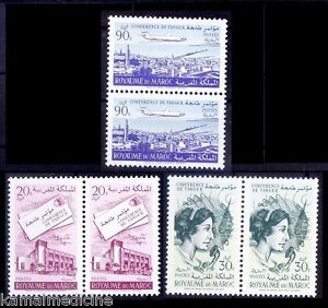 Postal conference, Communication, Airplane, Morocco 1961 MNH 3v in Pair