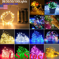 2M~5M/10M 20~100 Lights Copper Wire Operated LED Fairy String Light Party Decor