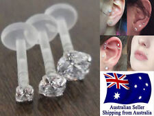 Acrylic 16g Studs Rings with Prong CZ Set Labrets Tragus Monroe Lip Earrings 1pc