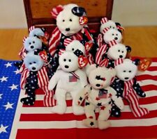 LOT OF ELEVEN STARS AND STRIPES BEANIE BABIES