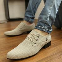 Men's Pointed toe Leisure canvas loafer Wedding Formal Dress Shoes Oxfords