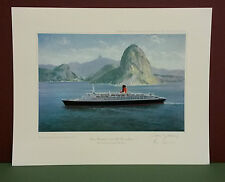 QUEEN ELIZABETH 2 OFF RIO DE JANEIRO by John Young,Limited Edition,Signed,Print