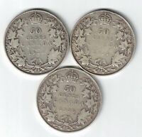 3 X CANADA 50 CENTS GEORGE V CANADIAN STERLING SILVER COINS 1913 1914 1916