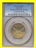 Australia GEM UNC 2007-S PCGS MS67 $1 Sydney Harbour Bridge counter stamp coin