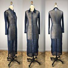 Vtg Dress 90s Printed Mesh Long Button Up Minimalist Grunge ANNE KLEIN