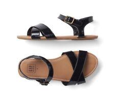 1c442247180e Gap Kids Girl Patent Leather Crisscross Sandals Shoes Flats Navy Blue Size  13