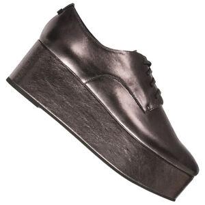 Calvin Klein Platform Oxford Damen Plateau Freizeit Schuhe E5566GUN silber neu