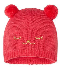 Petit Bateau Baby Mütze Strickmütze rot mit Ohren und Gesicht 3-36 Monate NEU