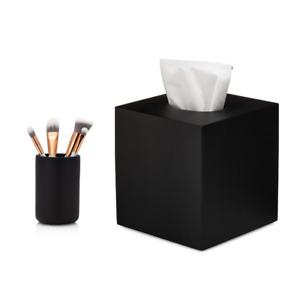 Essentra Home Matte Black Tumbler and Tissue Box Cover Bundle