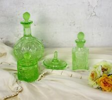 Vanity Dresser set  Depression glass Uranium Perfume Bottle Ring holder 4 pieces