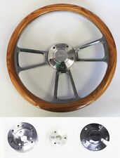 """65-69 Mustang Steering Wheel Oak Wood and Billet Shallow Dish 14"""" Ford Center"""