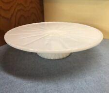"Anchor Hocking Milk White Star Burst Glass Low Pedestal Cake Plate 10¼"""