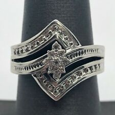 Antique Sterling Silver 925 Oxidized Floral Marquise CZ Wave Split Cocktail Ring