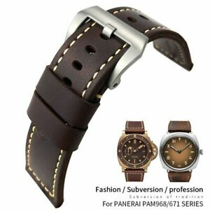 26 mm Brown Leather Strap For Panerai BRONZO 00968 00671 Series Wrist Watch Band