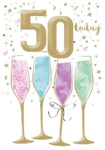 """Age 50 Birthday Card""""50 Today"""" Champagne Flutes Design Gold Embossed"""