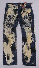 Lion Dynasty Men's Bleached Splatter Gold Rinse Jeans Sh3 Blue Size 38 Nwt