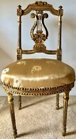 ANTIQUE FRENCH GILT LYRE-BACK BALLROOM/HALL CHAIR