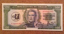 Billete De Uruguay. $0.50 sobreimpresión 500 Pesos. UNC. fechado 1975
