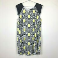 Brand New Caroline Morgan Womens Black/White/Yellow Sleeveless Dress Size 16