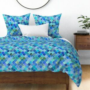 Blue Moroccan Cobalt Patchwork Ogee Watercolor Le Sateen Duvet Cover by Roostery