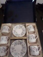 6 x lattine Coalport caffè + piattini-My Fair Lady-blu e grigio su bianco in scatola