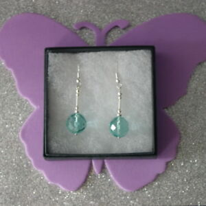 Beautiful Silver Earrings With Faceted Aquamarine Beads 6 Gr.3.8 Cm. Long + Hook