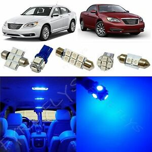 6x Blue LED lights interior package kit for 2011-2014 Chrysler 200 RT1B