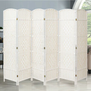 4/6 White Wooden Panels Folding Room Divider Partition Slat Privacy Screen