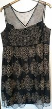 Monsoon black gold lace Barbara evening dress uk 18 embroidered party bnwt lined