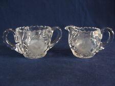 American Brilliant Era Crystal Creamer Sugar Bowl Set Cut Wheel Etched Flowers