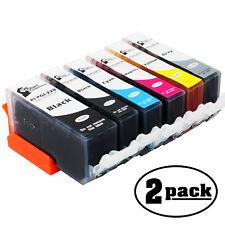 2Pk Blacks Gray Cyan Magenta Yellow Ink Cartridge for Canon PIXMA MX870  Printer