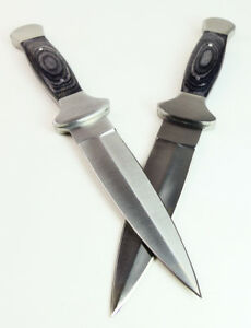 """TWO 9"""" BLACK WOOD COWBOY BOOT KNIVES Pair Western Double Edge Stealth Dagger"""