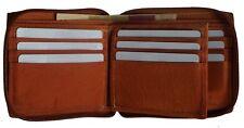 Zip-Around Secure Mens Wallet Cowhide Leather  Zipper ID Card Window  Tan