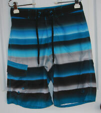 Op Ocean Pacific Board Shorts 28 Polyester Blue Black Gray Polka Dots Striped