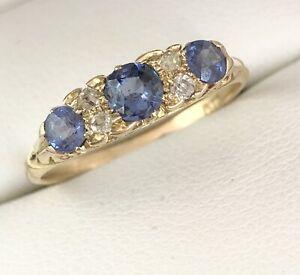 Antique 18ct Gold Sapphire & Diamond 7 stone Ring Circa 1900 Size N  A6058