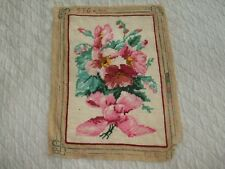 Antique Floral Needlepoint With Large Pink Bow
