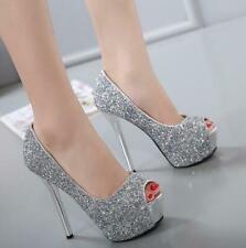 Fashion Women Peep Toe High Heel Platform Shoes Chic Sequins Party Wedding Shoe@