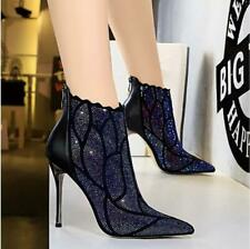 Women Ladies Pointed Toe Pumps Nightclub High Heels Stiletto Ankle Boots Shoes