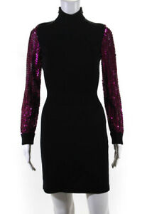 Moschino Couture Womens Sequin Sweater Dress Black Pink Size 38 LL19LL