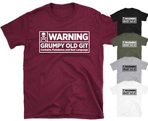 Warning Grumpy Old Git Men's Funny Slogan T-shirt Top Tee Gift Idea