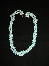 Echtes Perlmutt Collier Halskette 2reihig türkisfarben 50er Jahre