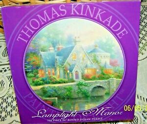 """THOMAS KINKADE PAINTER OF LIGHT 750 PC 24"""" RND JIGSAW PUZZLE NIB LAMPLIGHT MANOR"""