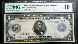 Fr. 881 1914 $5 Kansas City FRN, Burke/Glass PMG 30 VERY FINE LESS < 60 CENSUS